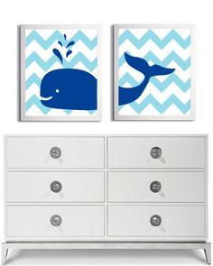Nursery Whale Kids Room Art Nautical Beach Ocean Sea Chevron Royal Blue more colors available set of 2 each 11x14. $42.00, via Etsy.