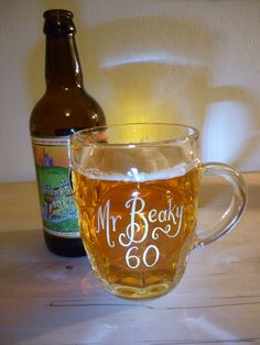 Personalised glass dimple mug with monogram hand engraved with your message for real ale lovers and festival go-ers alike! by CoveCalligraphy, £19.50