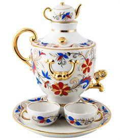 Ekaterina's Imperial Porcelain &Tea. Samovar Set: Teapot