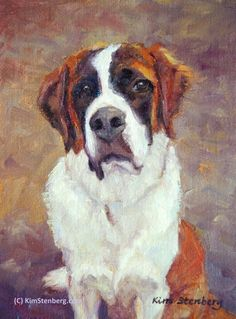 "St. Bernard Custom Pet Portrait Dog Painting Original Oil Painting 12 x 9"" by KimStenbergFineArt $250"