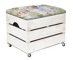 Cajón Puf tapizado en algodón 100% con ruedas Florida – blanco