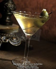 My ultimate favorite cocktail   'Extra Dirty Martini with Bleu Cheese stuffed Olives'