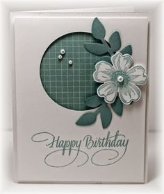 Stampin' Up! ... handcrafted card from Scrappin' and Stampin' in GJ ... birthday ... flower .... negative s;pace circle ... white and teal ... great card!