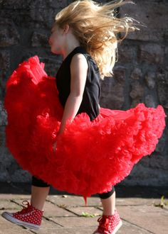 Angels Face Red Pettiskirt worn with Black Lace Trim Leggings and Short Sleeve T-Shirt