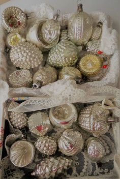 KONVOLUT 23 Stück alter CHRISTBAUMSCHMUCK GLAS BAUMSCHMUCK Silber um 1910 | eBay