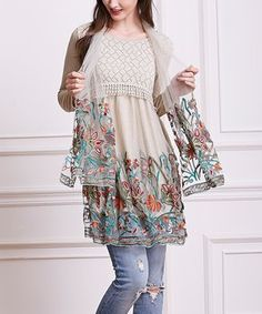 Beige Embroidery-Accent Layered Tunic & Scarf