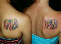Mother/daughter matching elephant tattoos