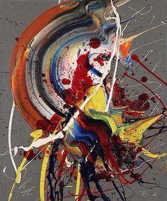 Kazuo Shiraga (Japanese, b. 1924) / Matsuri No Hi, 1981 Oil on canvas, 17.9 × 15 in. (45.5 × 38 cm)