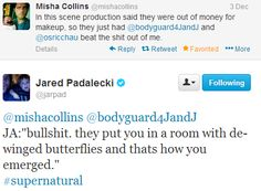 "Misha and Jensen on Twitter during Supernatural 9x09 ""Holy Terror"" -- ouch! ;)"