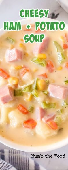 This Cheesy Ham and Potato Soup is the most delicious way to use up your leftover ham! Brimming with cheese, potatoes, corn, and ham, I guarantee you are going to love this soup! #cheesy #potato #ham #soup #numstheword #delicious