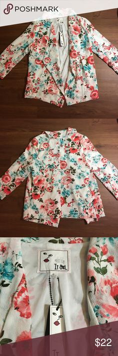 Brand New It Girl Floral Jacket Size Small, 3/4 sleeve, pockets ItGirl Jackets & Coats