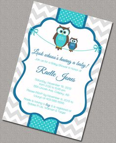 Printable Boy Baby Shower Invitation with mommy and baby owls. Chevron Shower Invitations in blue, turquoise and gray.