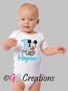 Baby Mickey Mouse 1st Birthday Shirt  Babies by LetUsCreateForYou, $10.95
