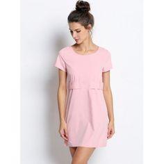 Fashion Women Round Neck Short Sleeve Solid Straight Mini Dress