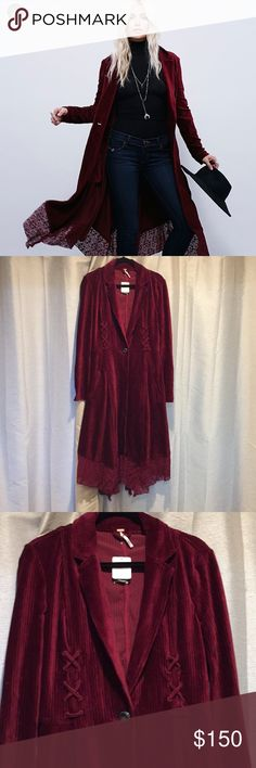 Free People Cranberry Duster Cord Free People Duster Coat in a stretchy cord material. The color is a dark cranberry/wine color. New with tags. I bought this for my daughter but it doesn't fit her. This is a size small. It has some stretch so it may fit a medium. Perfect for the upcoming holidays and will keep you warm in a California winter. It's not something for extreme cold. Lace along the bottom give this flare. Free People Jackets & Coats Pea Coats