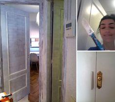 pintando las puertas de casa
