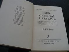 History Book Will Durant Our Oriental Heritage by booksvintage, $39.00