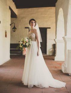 Gold sequin & tulle wedding dress ~ so romantic!
