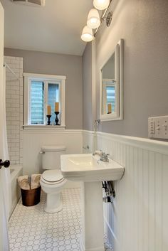 Photo Album Website  Stunning Craftsman Bathroom Design Ideas Pedestal sink Baseboard and Glass shelves