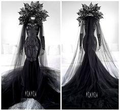Lilith Gown by Askasu Pretty Dresses, Beautiful Dresses, Accessoires Photo, Queen Dress, Fantasy Dress, Fantasy Costumes, Black Wedding Dresses, Lace Wedding, Fashion Mode