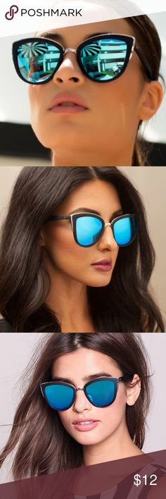 """QUAY """"MY GIRL"""" Sunglasses black/blue cat eye ORIGINAL QUAY MY GIRL SUNGLASSES! Polycarbonate & Metal Frame. Polycarbonate Lens. Steel Hinges. Width: 145mm. Height:55mm. Nose Gap: 20mm. There are barely-there scratches on one of the lenses that you can hardly see but I want to mention. Quay Australia Accessories Sunglasses"""
