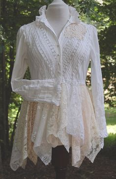 Victorian Tattered Lace Blouse White Cotton by GallimaufryClothing
