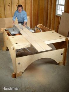 This DIY table saw table is the perfect solution for cutting long boards or big sheets of plywood. It's also a handy workbench with storage trays. When finished, a DIYer can quickly dismantle the table saw table and store it flat against a wall. Workbench With Storage, Table Saw Workbench, Lumber Storage, Router Table, Workbench Plans, Craft Storage, Tool Storage, Storage Ideas, Woodworking Bench