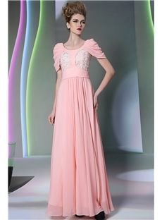 Graceful A-Line Scoop Cap Sleeves Lace Beading Floor-Length Evening Dress