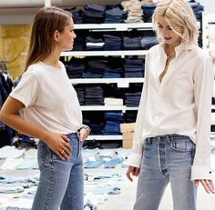 Emma Morrison and Kelly Connor of @voguemagazine visit the Levi's Eureka Lab and created their own 501 CT jean. Photo: Christina Ladwig