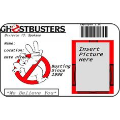 Ghostbusters Employee ID Card Ghost Busters