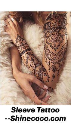 Full Sleeves Design, Full Sleeve Tattoo Design, Half Sleeve Tattoos Designs, Girls With Sleeve Tattoos, Mandala Tattoo Design, Best Sleeve Tattoos, Tattoo Designs And Meanings, Tattoo Designs For Women, Henna Tattoo Designs Arm