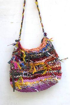 Fiesta --- Huge Fabric Scraps Bag --- OOAK --- Colorful Crocheted Handbag --- TAGT team --- Beach Bag