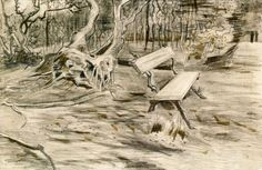 The Bench, 1882 - Vincent van Gogh. Pencil and chalk on paper. Created at the Hague, Netherlands. #Realism #landscape