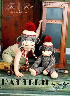 Classic Twist Sock Monkey Hat and 21 inch Sock Monkey Doll - Crochet PDF Pattern