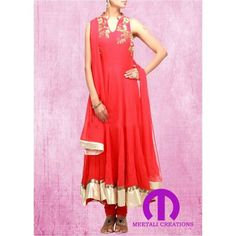 Red coloured Anarkali suit made special