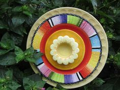 Recycled garden art | Recycled Glass Plate Garden Art Fantasy by TheEverlastingGarden