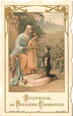 Vintage French Holy Prayer Card Madonna Mary items in The Paper Attic store on eBay!