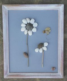 Pebble Art / Rock Art (White Flowers with Flying Insect), unique gift, custom…