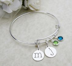 Personalized Sterling Silver Initial Bracelet by MistyMornDesigns