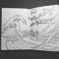 April's bullet journal monthly art!