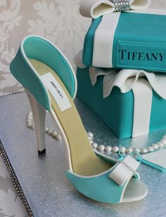 Fondant Tiffany Cake and Shoe.
