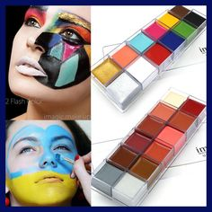 Cheap face body paint, Buy Quality body paint directly from China art face painting Suppliers: IMAGIC 12 Colors Flash Tattoo Face Body Paint Oil Painting Art Halloween Party Fancy Dress Beauty Makeup Tools Schulterpanzer Tattoo, Flash Tattoo, Lotus Tattoo, Halloween Party Kostüm, Halloween Makeup, Tattoo Gesicht, Professional Makeup Artist, Cosmetic Case, How To Apply Makeup