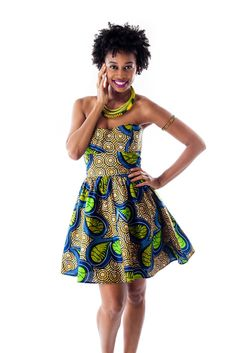 Amina ankara print dress is back in two new prints! Pre-order today >>> ~African fashion, Ankara, kitenge, African women dresses, African prints, African men's fashion, Nigerian style, Ghanaian fashion ~DKK