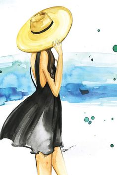 We Need Vitamin Sea Canvas Art Print by Rongrong DeVoe Girly Drawings, Art Drawings Sketches, Watercolor Girl, Watercolor Illustration, Watercolor Paintings For Beginners, Girl Sketch, Mode Inspiration, Canvas Art Prints, Female Art