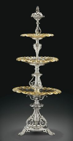 Jean-Pierre Marrel: A silver and cut-glass three-tiered dessert stand, Paris, c. 1855.