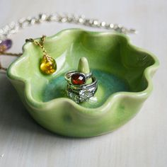 Green Ring Holder with Ruffled Edges Handmade Ceramic Jewelry Dish Stoneware Pottery Ring Bowl