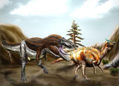 Tarbosaurus bataar pourchasse  Saurolophus angustirostris. Auteur :  Durbed, 2012.