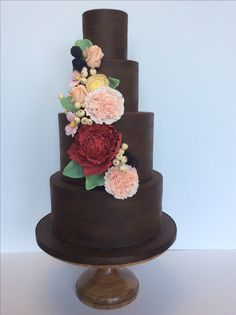 Painted Chocolate wedding cake.  | Amy Beck Cake Design, Chicago.                                                                                                                                                                                 More
