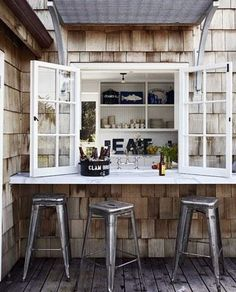 DIY Porch Bar - just install a ledge under the kitchen window!