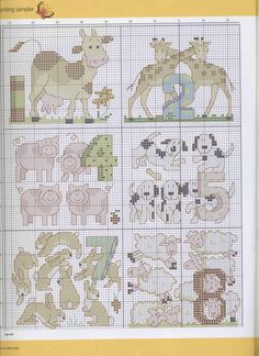 cross stitch numbers and animals 1 of 3